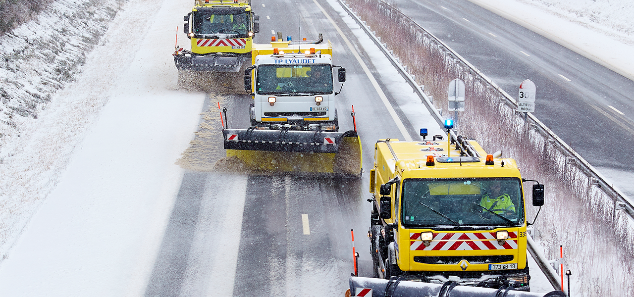 Snowplow on road