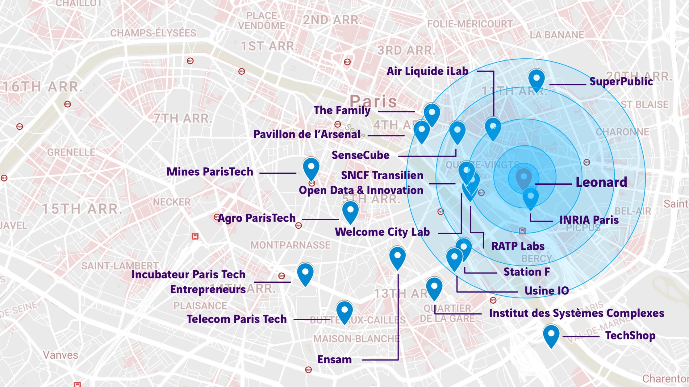 Carte de l'Arc de l'innovation parisien